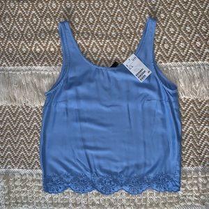 Blue Lace Detail Top